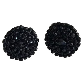 Black Faceted Glass Beaded Cluster Earrings-Converted to Pierced