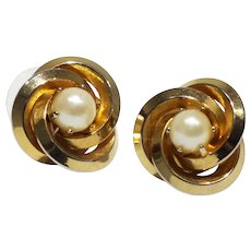 Mid-century Era Goldtone Swirl and Faux Pearl Button Earrings-Converted to Pierced