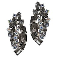 1950s Vintage Smokey Crystal Rhinestone Clipback Climber Earrings