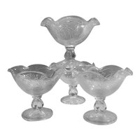 Mid-century Vintage Clear Pressed Glass Footed Sherbet / Dessert Bowls-set of Four (4)