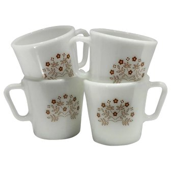 1970s Vintage Pyrex Coffee Mugs Summer Impressions in Ginger Floral Pattern-set of Four (4)