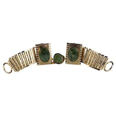Wraparound Green Jasper and Goldtone Cufflinks and Tie Tack Set