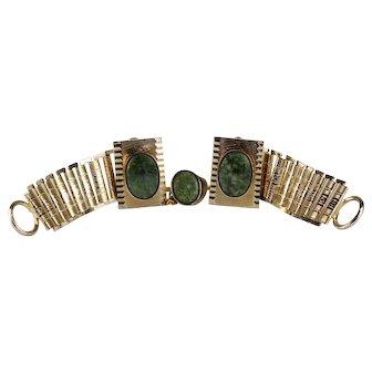 Wraparound Green Jasper and Goldtone Cufflinks and Tie Tack Set
