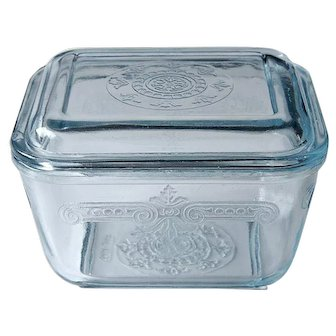 Fire King Philbe Sapphire Blue pattern Depression Glass Refrigerator Dish