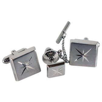 Mid-century Modern Silvertone Atomic Cufflinks and Tie Tack-Tradition Award Collection