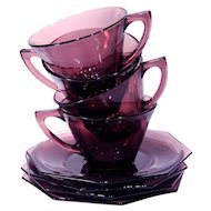 Hazel Atlas Moroccan Amethyst 1950's Glass Cups and Saucers-service for Four (4)