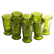 Mid-century Olive Green Whitehall Footed 14 oz Tea Glasses by Indiana Glass-set of 8