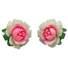 White and Pink Resin Rose Bloom Earrings-converted to pierced