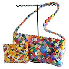 1990's Vintage Recycled Candy Wrapper Clutch and Coin Purse Set