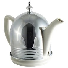 1940's Insulated White Ceramic Teapot with Removable Chrome Cozy  by Hall China