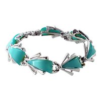 1950s Vintage Mint Green Lucite and Silver-plated Bracelet--ModeArt/Art by Arthur Pepper
