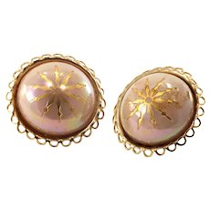 1950s Vintage Button Earrings-Converted to Pierced