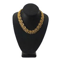 Vintage Gold-plated Laurel Leaves Necklace