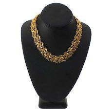 Vintage Gold-plated Laurel Leaves Necklace