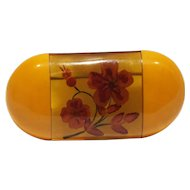 Rare Vintage Butterscotch and Apple Juice Bakelite with Reverse-carved Flower Motif Brooch