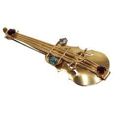 Goldtone Cello Pin/Brooch with Rhinestone Accents