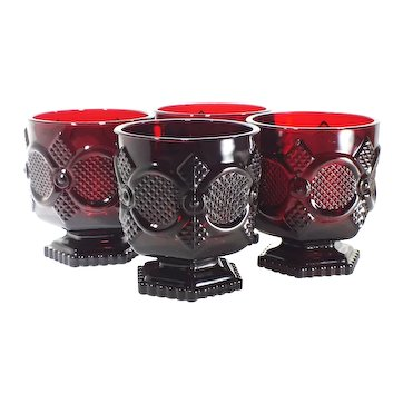 Avon 1876 Cape Cod Collection-set of 4 Ruby Red Footed Cups