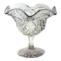 Ruffled Starburst Hobnail Pressed Glass Footed Compote Bowl
