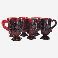 Avon 1876 Cape Cod Collection-set of 6 Ruby Red Footed Mugs