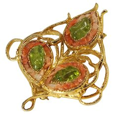 1950s Era Simulated Coral and Peridot Chip Openwork Brooch