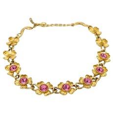 1980's Vintage Signed Monet Goldtone Floral Necklace