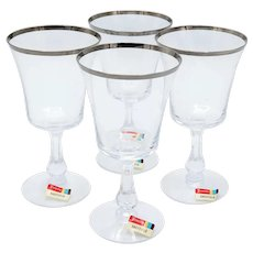 Fostoria Sheffield Platinum Rim Claret Wine Glasses-set of 4