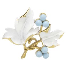 "1967 Sarah Coventry ""Placid Beauty"" Blueberry Leaves Pin"
