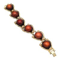 1960s Vintage Amber Lucite Moonglow Cabochon Bracelet