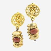 1960s Signed Les Bernard Matte Gold Baroque Revival Clip Earrings
