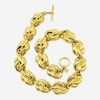 Chunky 1980s Vintage Anne Klein Heavy Gold-plated Choker