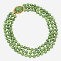 1950s Three-Strand Marbled Green Lucite Bead Choker with Fancy Clasp