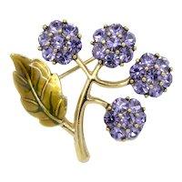 1960s Signed Monet Enamel and Purple Rhinestone Flower Pin/Brooch