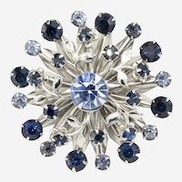 Mid-century Vintage Atomic Starburst Blue and Silvertone Rhinestone Brooch