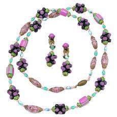 Vintage Art Glass Beaded Demi-Parure Earring/Necklace Set