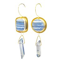 Blue Lace Agate Fine Silver and Brass Asymmetrical Earrings-OOAK Artisan