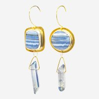 Blue Lace Agate Fine Silver and Brass Asymmetrical Earrings-OOAK Artisan