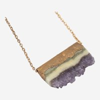Copper Electroformed Amethyst Slice Pendant- One of a Kind Artisan Necklace