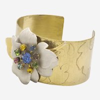 One of a Kind Vintage Assemblage Corsage Cuff-Etched Brass