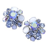 Mid-Century Light Blue Moonglow Lucite and AB Rhinestone Cluster Clip-On Earrings