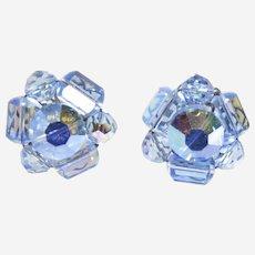 Cornflower Blue Beaded Cluster Earrings-converted to pierced