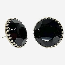 Vintage Black Glass Button Earrings-converted to pierced