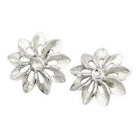Signed Crown Trifari Silvertone Openwork Flower Clip-on Earrings