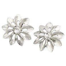 Signed Crown Trifari Silvertone Openwork Flower Clip-on Earrings