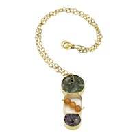 One of a Kind Artisan Pendant-Brass-set Genuine Amethyst and Chrome Diopside