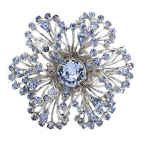 MId-Century Openwork Silvertone Dimensional Brooch with Baby Blue Crystal Rhinestones
