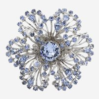 MId-Century Openwork Silvertone Dimensional Brooch with Baby Blue Crystal Rhinestones