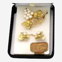 Krementz Grape Earrings and Pin/Brooch Set in 14K Yellow Gold Overlay