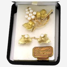 Krementz Grape Earrings and Pin/Brooch Set in 14K Yellow Gold Overlay