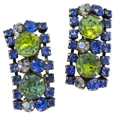 Blue and Green Rhinestone Geometric Clip-on Earrings