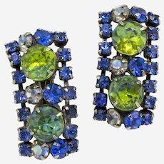 Blue and Green Rhinestone Geometric Clip-on Earrings
